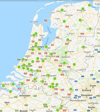 Landkaart met de examenlocaties voor het behalen van het VCA certificaat.